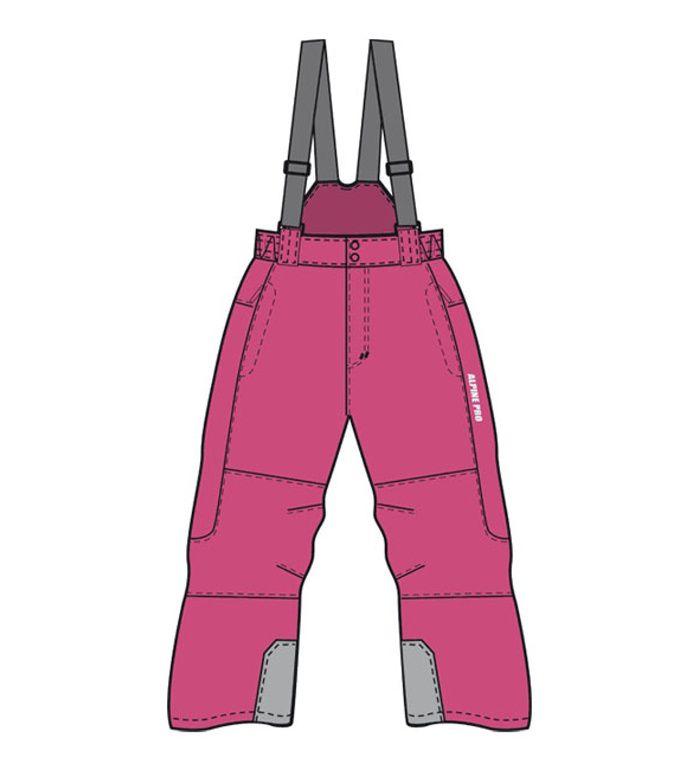 ALPINE PRO LEDI Dětské lyžařské kalhoty 10159404 beetrot 140-146