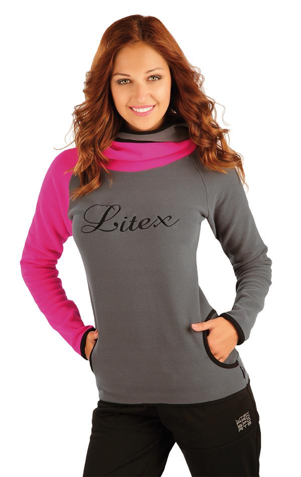 LITEX Mikina dámská s překříženou kapucí. 90115320 tmavě růžová M