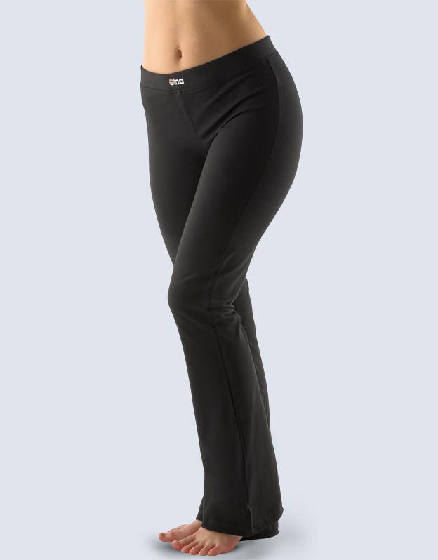 GINA Kalhoty zvonové jednobarevné základní délka 96001-MxC černá