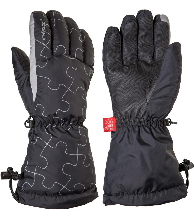 RELAX PUZZY Junior lyžařské rukavice RR15B černá/šedá
