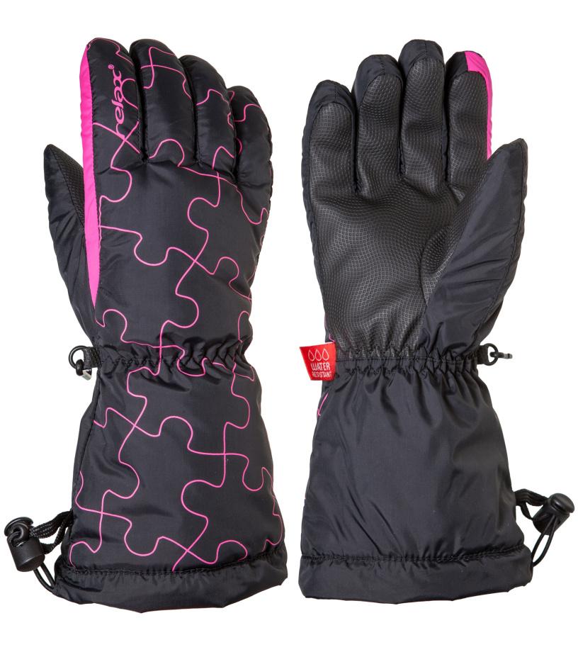 RELAX PUZZY Junior lyžařské rukavice RR15C černo-růžová