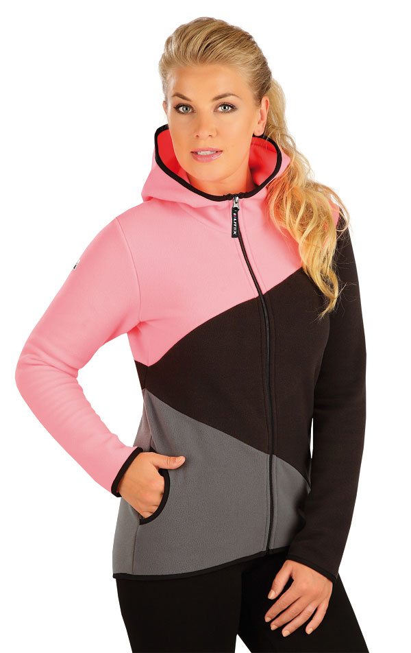 LITEX Fleecová mikina dámská s kapucí. 55183311 reflexně růžová S b613461269d