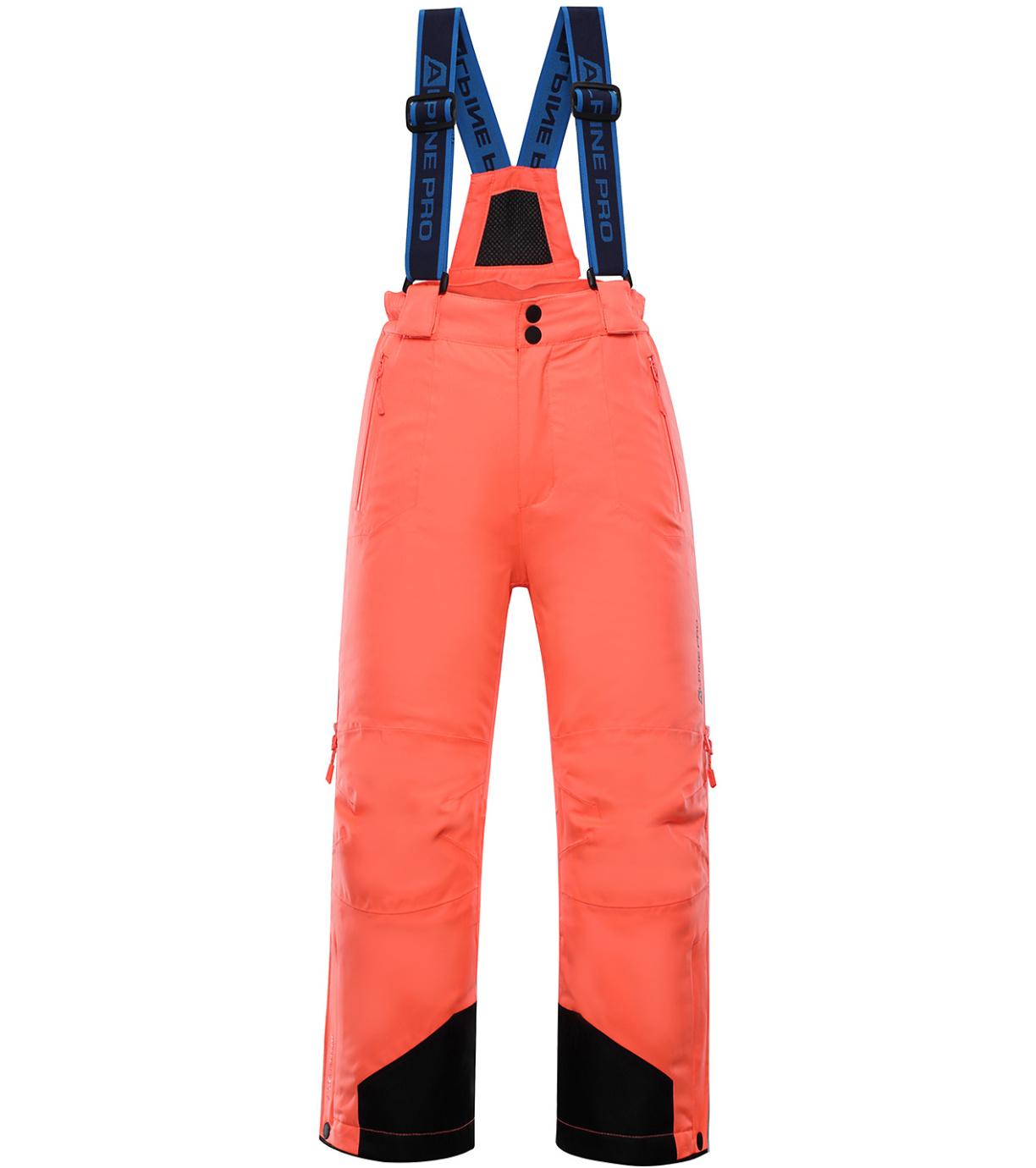 ALPINE PRO NUDDO 4 Dětské lyžařské kalhoty KPAP167341 Neon coral 128-134