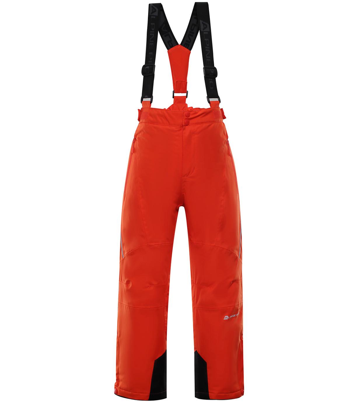 ALPINE PRO ANIKO 3 Dětské lyžařské kalhoty KPAP168344 cherry tomato 128-134