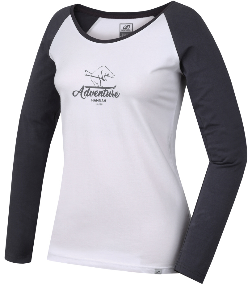 HANNAH FABRIS Dámské triko s dlouhým rukávem 10000223HHX01 bright white/castlerock 36
