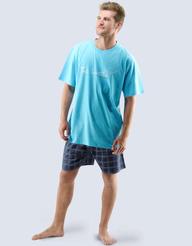 GINA Pánské pyžamo krátké 79028-DYMDCM tm. tyrkysová - lékořice M