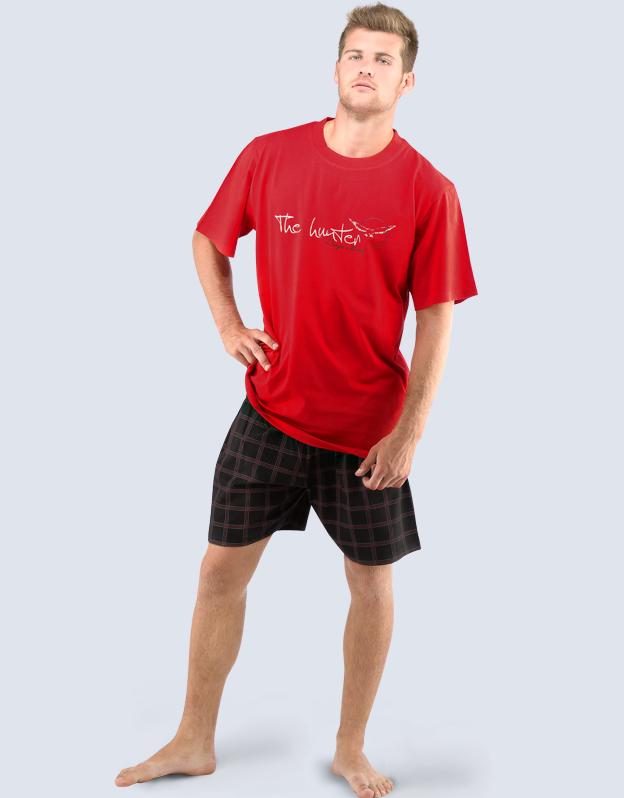 GINA Pánské pyžamo krátké 79028-MxEMxC červená - černá XXL