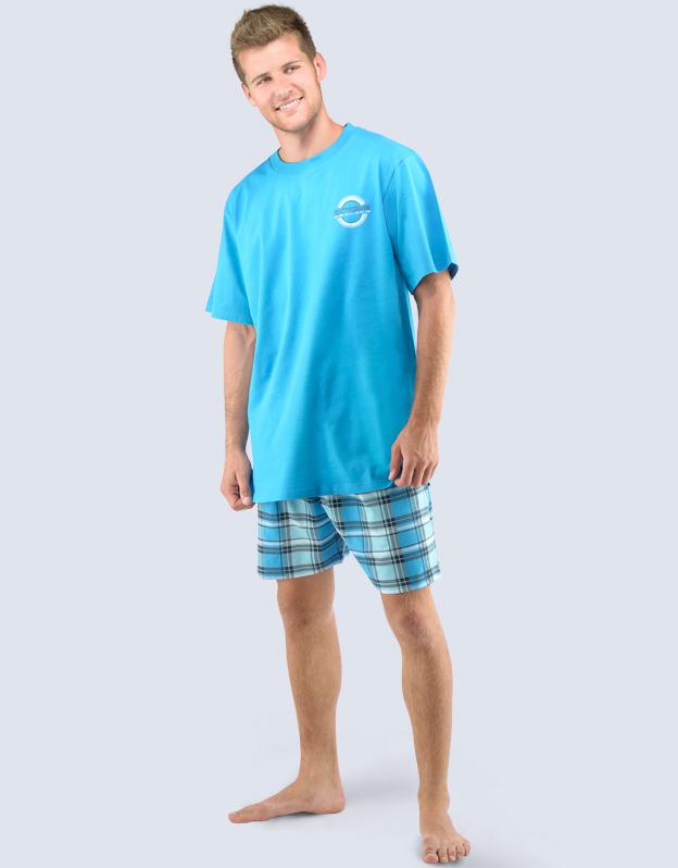 GINA Pánské pyžamo krátké 79030-MGADCM měsíc-lékořice L