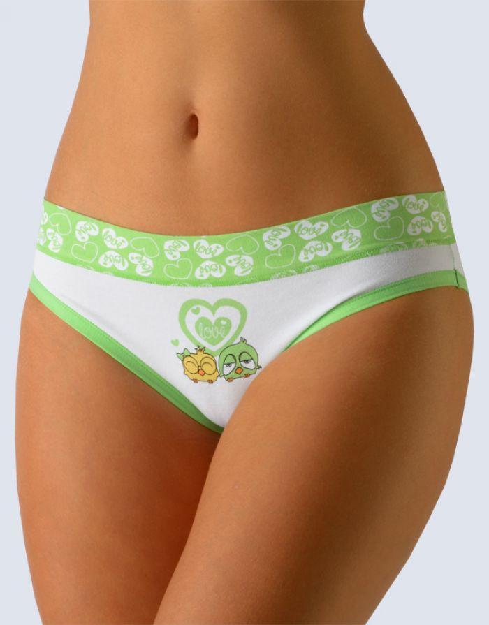 GINA Dámské kalhoty bokové se širokým bokem 16089-MxBMBZ Bílá-sv. zelená 46-48