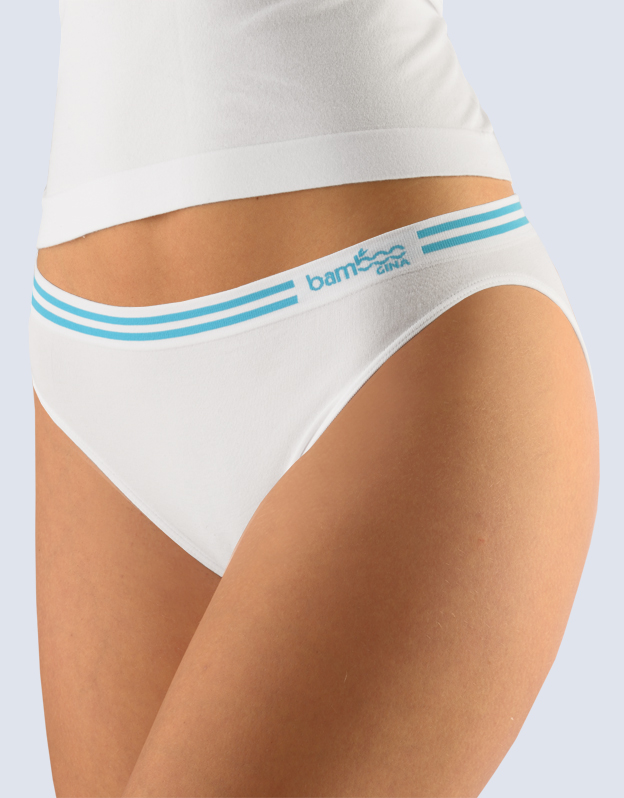 GINA Kalhotky klasické s úzkým bokem 00025-MxBDYM bílá tm.modrá S/M