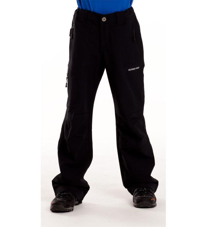 ALPINE PRO PLATAN Dětské softshell kalhoty KPAC001990 černá 116-122