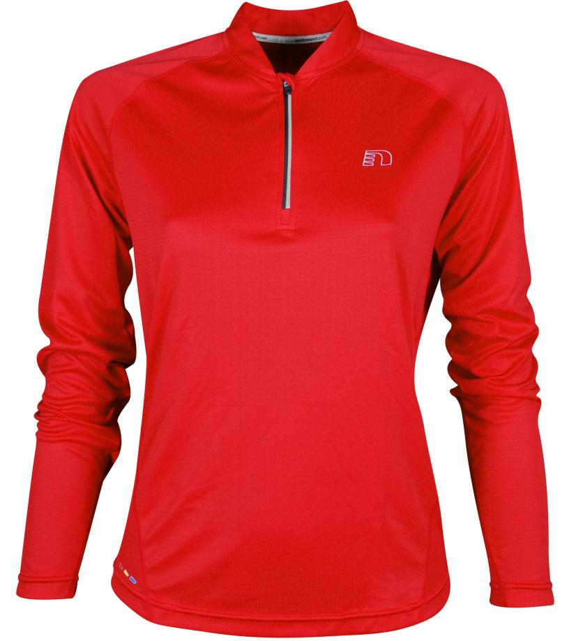 NEWLINE BASE Dámské běžecké tričko se zipem 13370-04 Červená