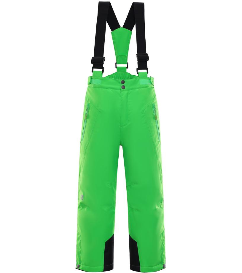 ALPINE PRO ANIKO Dětské lyžařské kalhoty KPAK091563 Neon zelená 164-170