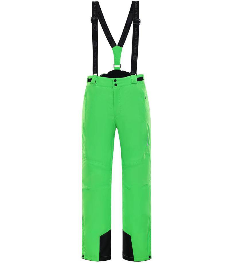 ALPINE PRO SANGO 4 Pánské lyžařské kalhoty MPAK212563 Neon zelená