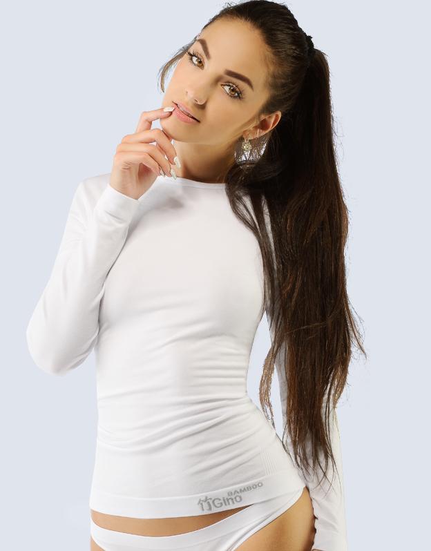 GINA Triko dlouhý rukáv - bezešvé 58001-MxB bílá L/XL