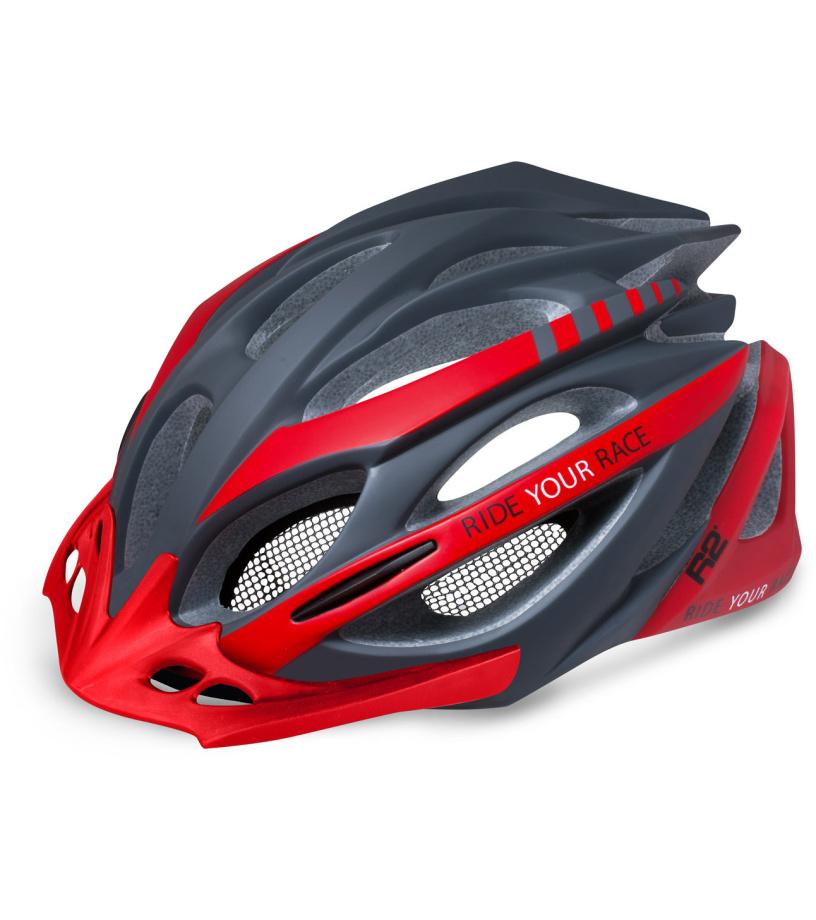 R2 PRO-TEC Cyklistická helma ATH02I tmavá šedá M