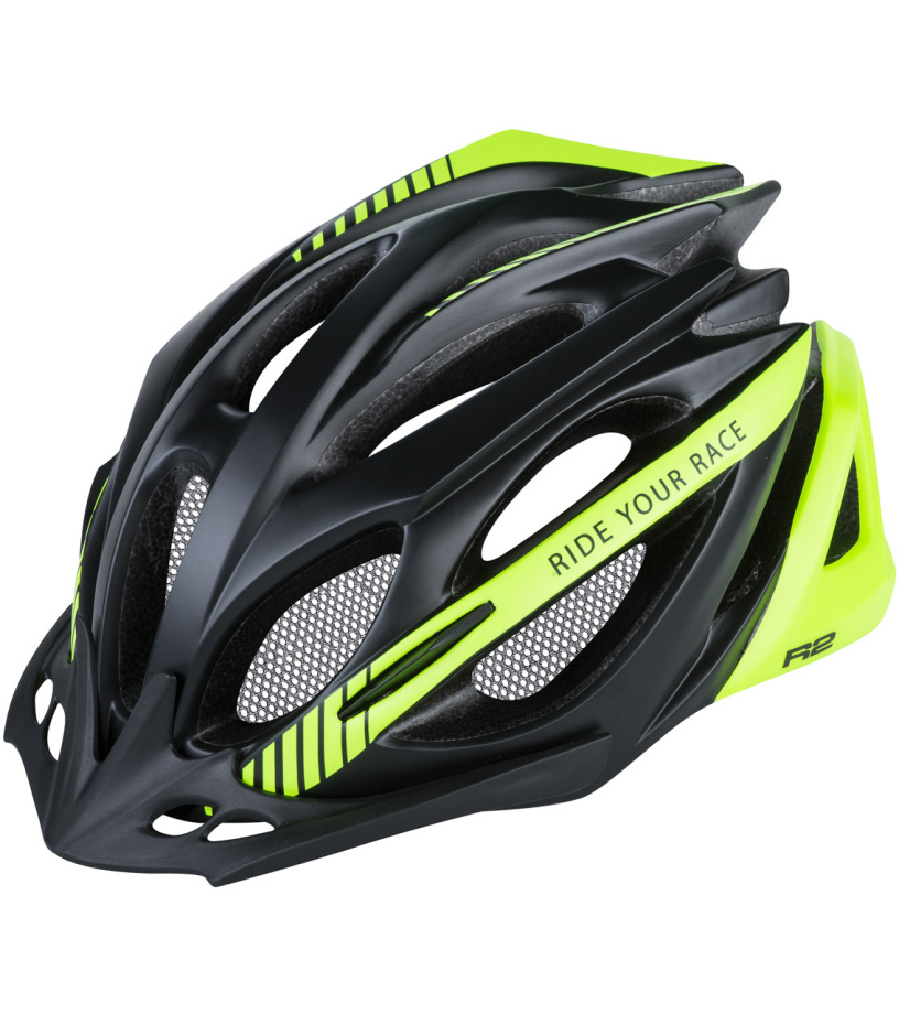 R2 PRO-TEC Cyklistická helma ATH02O černá/zelená M
