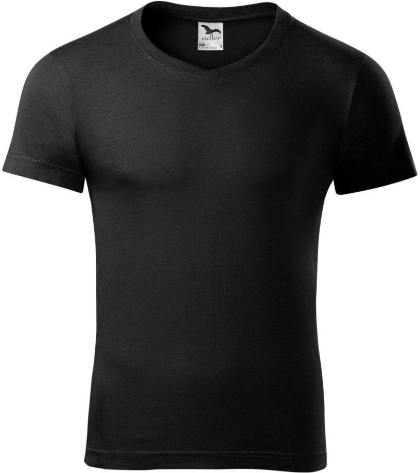 ADLER SLIM FIT V-NECK Pánské triko 14601 černá XXL