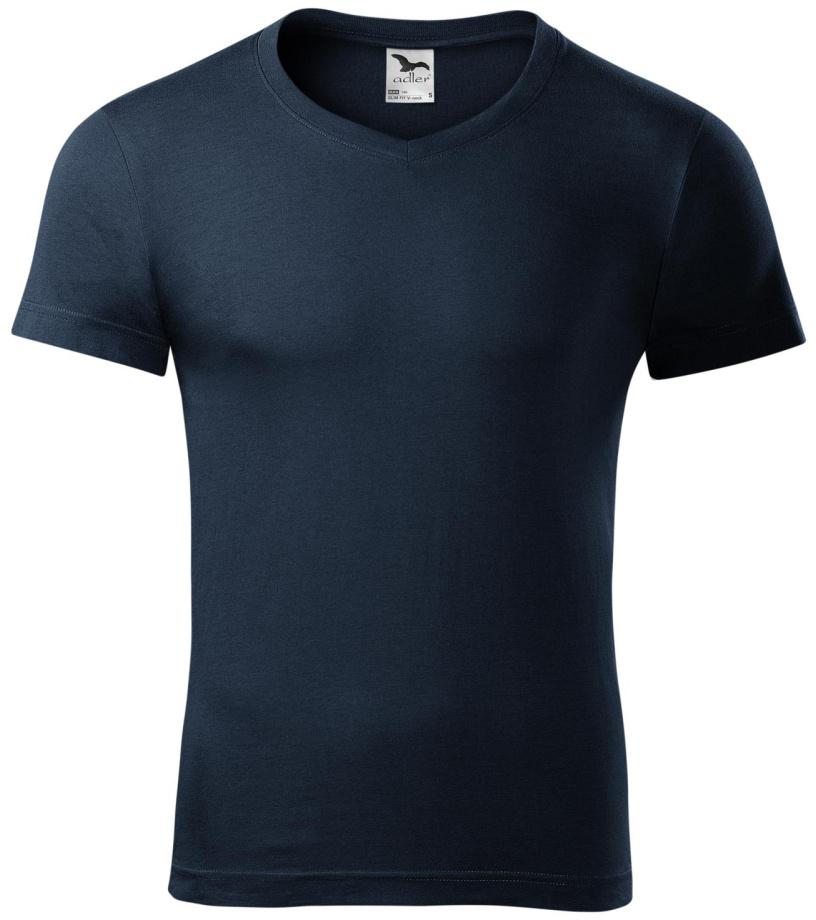 ADLER Slim fit V-NECK Pánské triko 14602 námořní modrá