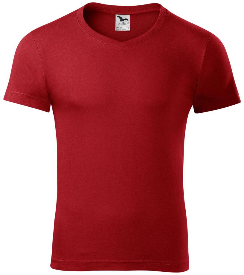 716ffbbed83 ADLER Slim fit V-NECK Pánské triko 14607 červená S