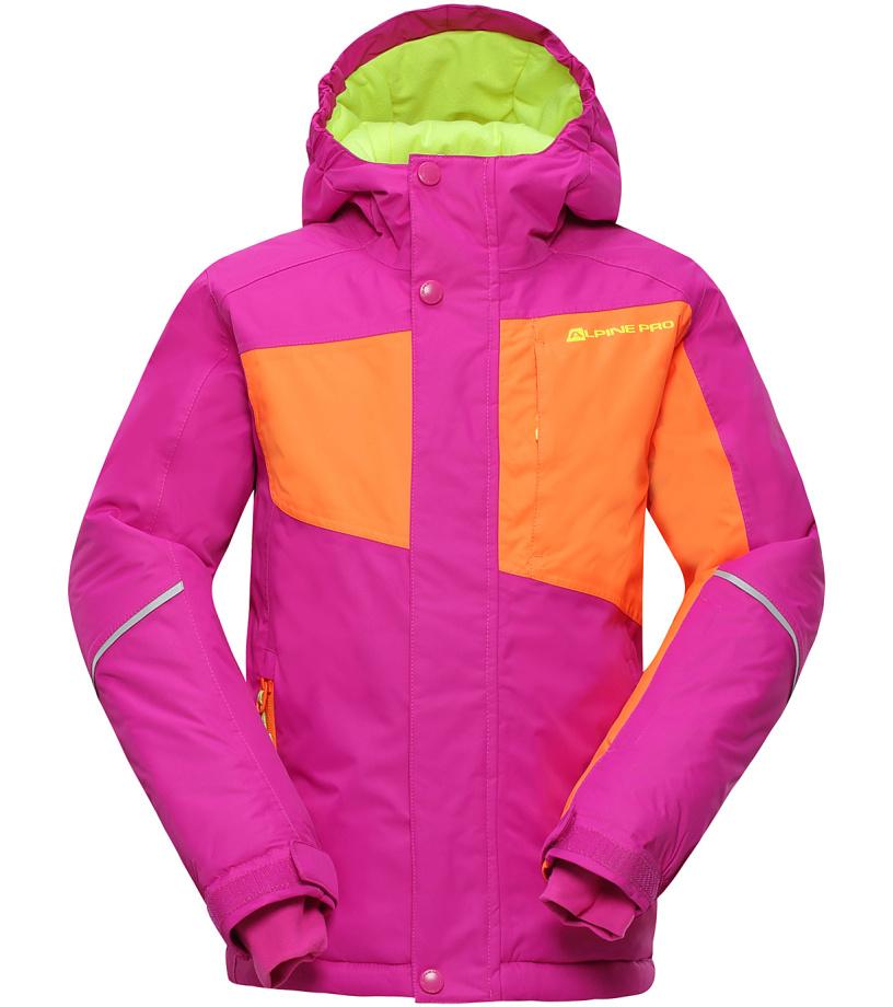 ALPINE PRO BAUDOUINO Dětská lyžařská bunda KJCH051411 fuchsiová 116-122