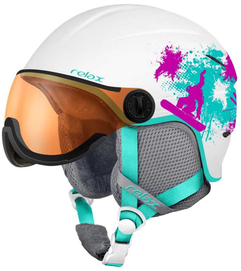 RELAX TWISTER VISOR Lyžařská helma se štítem RH27G bílá XS