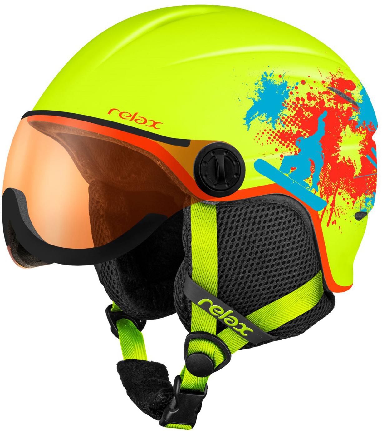 RELAX TWISTER VISOR Lyžařská helma se štítem RH27B žlutá S