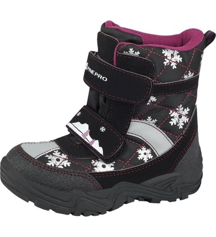 ALPINE PRO TORBERT Dětská zimní obuv KBTD095990 černá 25