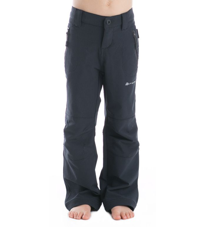 ALPINE PRO PLATAN Dětské softshell kalhoty KPAD001990 černá 116-122