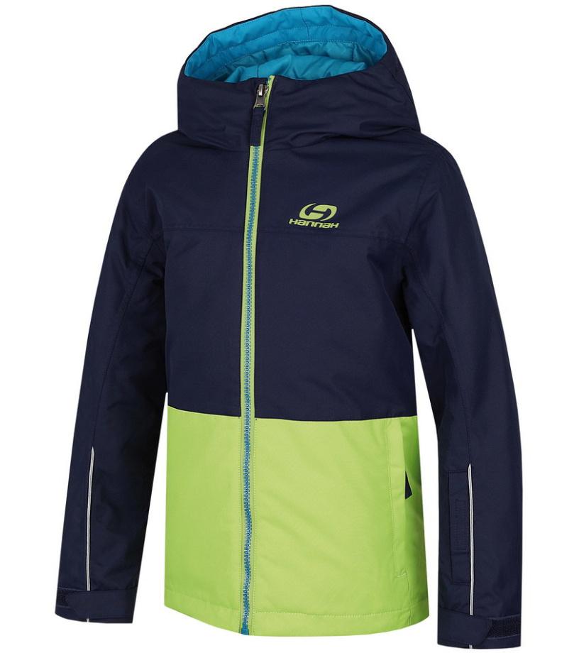 HANNAH Shifty JR Chlapecká lyžařská bunda 215HH0035HJ03 Peacoat/lime green 128