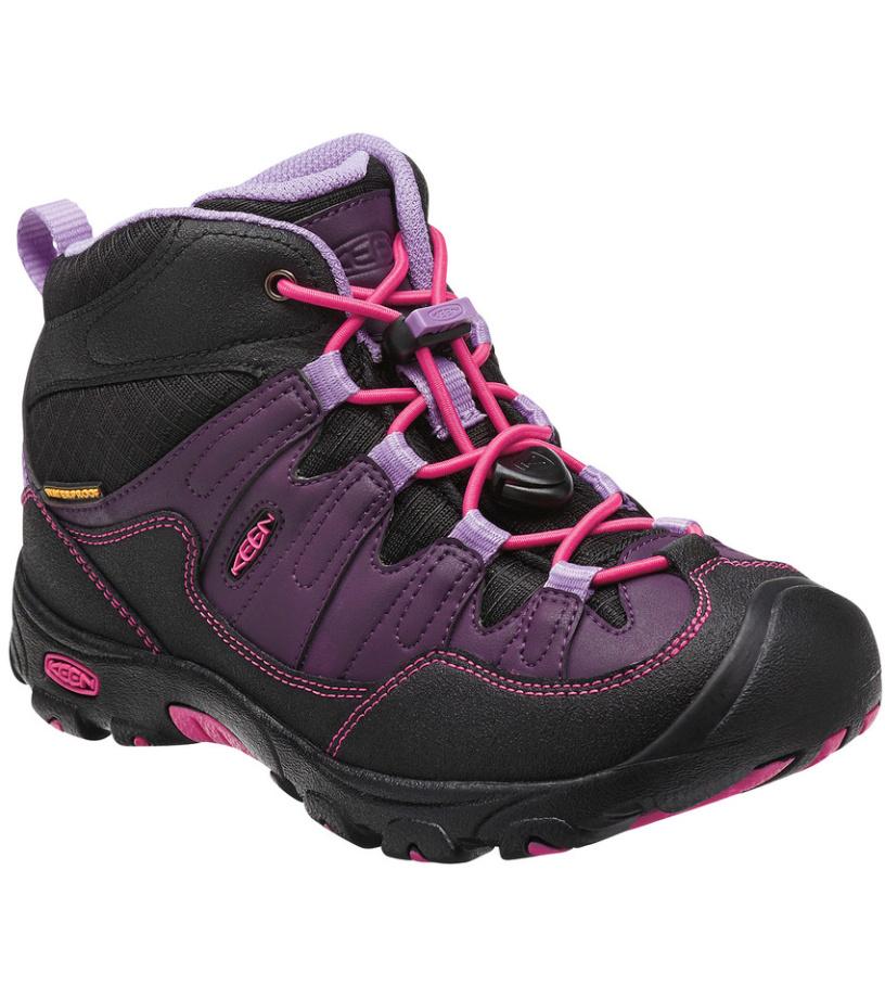 KEEN Pagosa Mid WP JR Dětské trekové boty KEN1204073301 blackberry/bougainvillea 4(37)