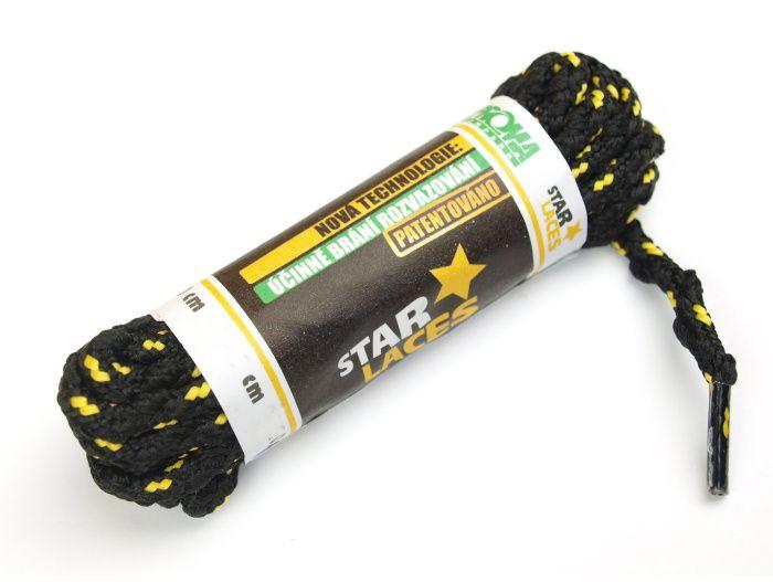PROMA Tkaničky (šněrovadla) STAR LACES SLIM 123p0104 černo-žlutá 160 cm