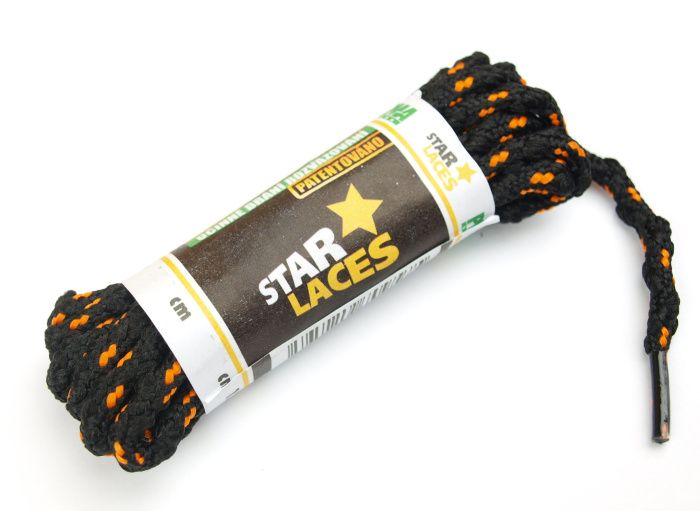 PROMA Tkaničky (šněrovadla) STAR LACES SLIM 123p0111 černo-oranžová 100 cm