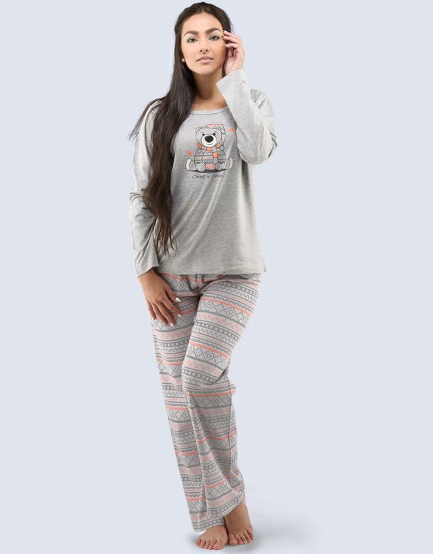 GINA Dámské pyžamo dlouhé 19035-LxGMOR světle šedá-jaspis XL