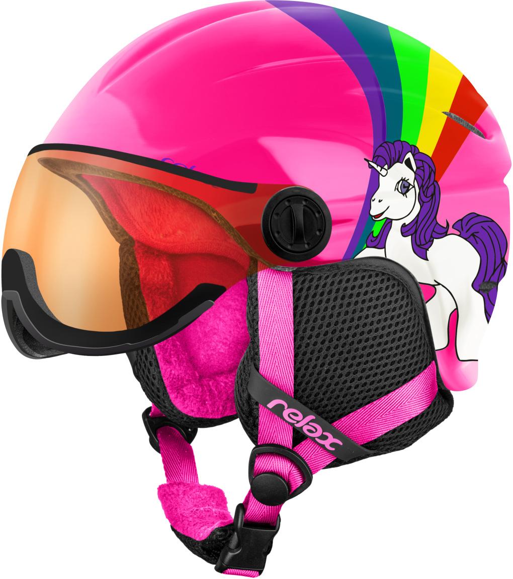 RELAX TWISTER VISOR Lyžařská helma se štítem RH27K růžová XS