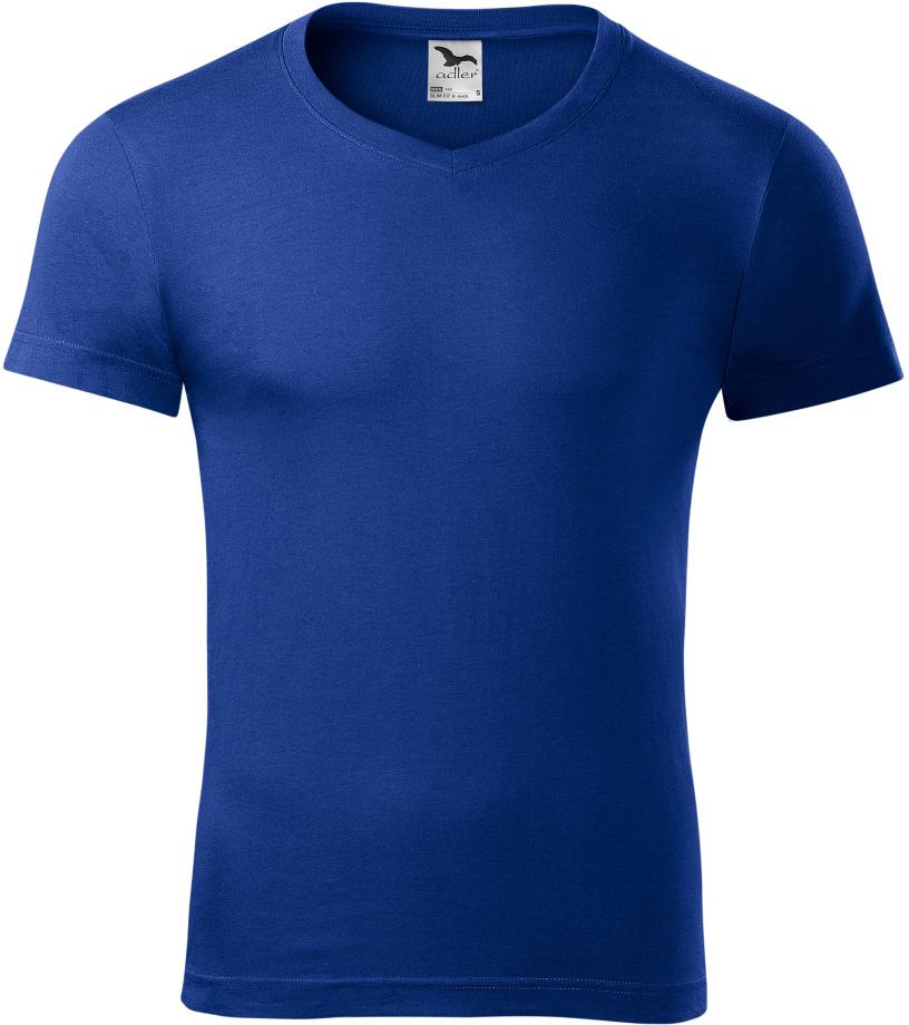 ADLER Slim fit V-NECK Pánské triko 14605 královská modrá