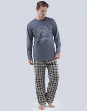 Pánské pyžamo dlouhé 79063-DxGMxC GINA